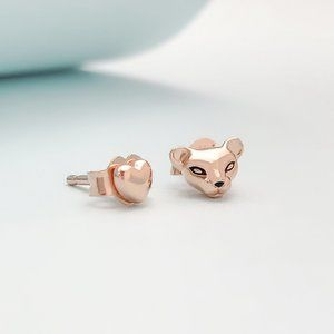Pandora Rose Lioness And Heart Stud Earrings